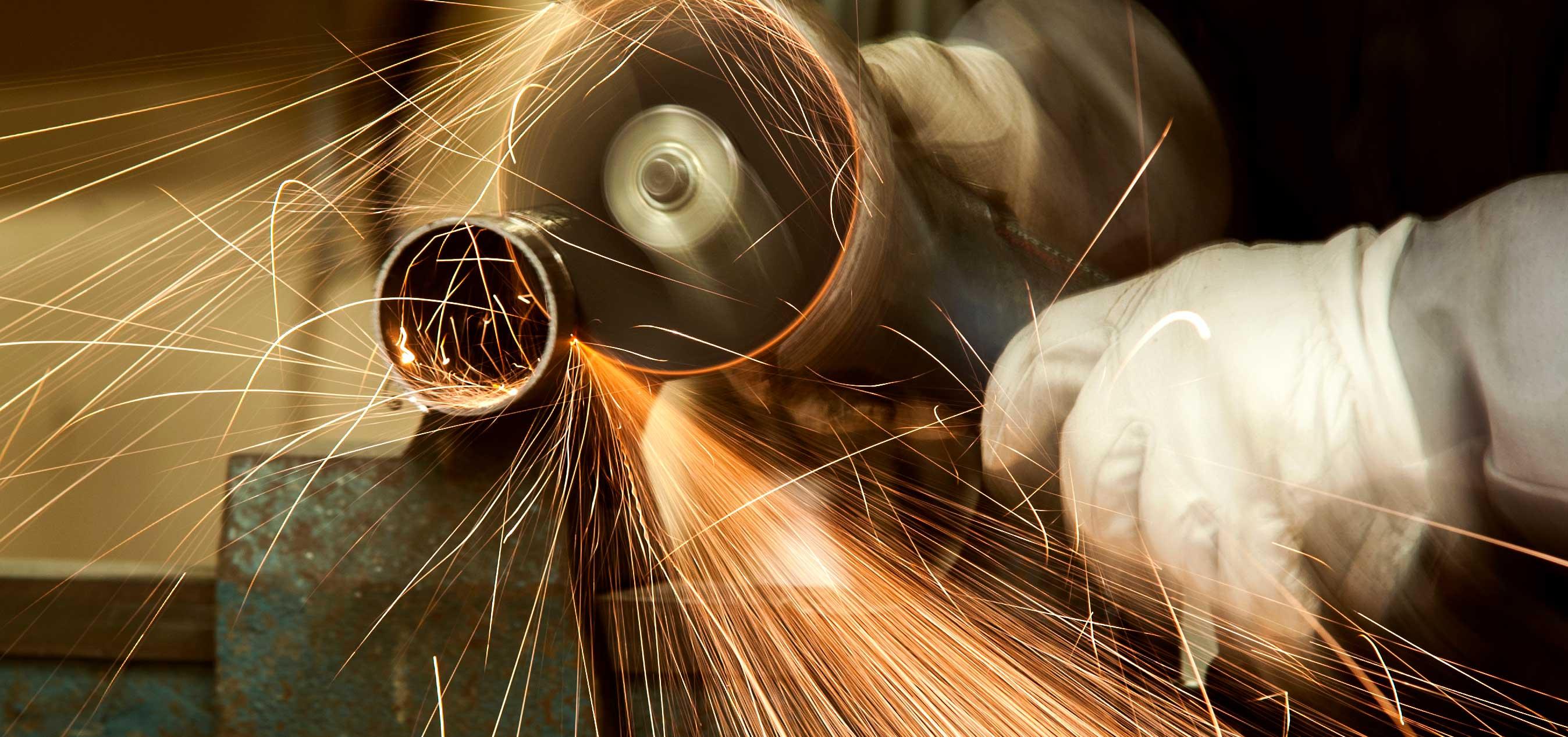 Bilde av skjærebrenner med gnister. Fotograf: Freddy Bremseth